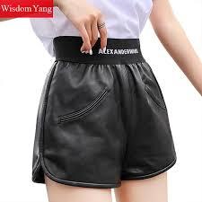 sheepskin genuine leather shorts womens