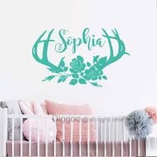 Deer Antlers Name Wall Decal Flowers Girls Name Decal Rustic Nursery Decor Hunting Themed Woodland Gi Rustic Nursery Decor Woodland Girls Room Girls Room Decor