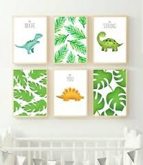 6 Jungle Dinosaur Trex Print Pictures Leaves Nursery Wall Art Kids Room Decor Ebay