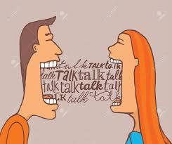 cartoon ilration of couple talking
