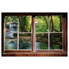 Wall Decal Woods And Waterfall Window View Large 24x36 Faux Window Window View Wall Murals
