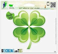 Amazon Com Four Leaf Clover Irish Luck Sign Vinyl Car Bumper Window Sticker 8 X 8 Automotive