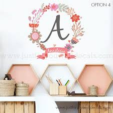 Monogram Wall Decal Flower Wall Decal Name Wall Decal Etsy