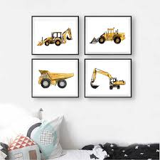 Construction Vehicle Watercolor Boys Wall Art Canvas Painting Pictures Dump Truck Excavator Posters And Prints Kids Room Decor Painting Calligraphy Aliexpress