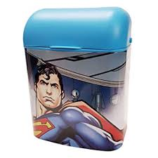 Nora Kids Dustbin Super Man Character Printed Trash Can For Kids Room Blue Amazon In Home Kitchen