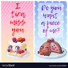 cute food characters funny flirty quotes vector image