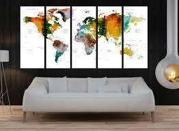 Push Pin Travel World Map Wall Decal Art Canvas Print Modern Hrt21 Walldecal76 On Artfire