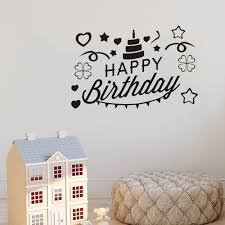 Happy Birthday Wall Stickers For Kids Rooms Cake Nursery Baby Room Wall Decoration Removable Baby Room Stickers Bedroom Decor Buy At The Price Of 3 91 In Aliexpress Com Imall Com