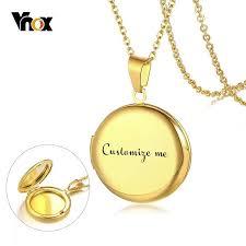 vnox personalize round locket necklace