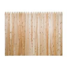 Unbranded 6 Ft H X 8 Ft W Privacy Eastern White Cedar Moulded 3 In Stockade Pointed Picket Fence Panel 235681 The Home Depot