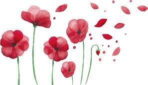 Väggklistermärken sovrummet vallmo blommor - Tenstickers