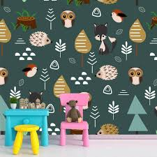Baby Kids Room Decor Forest Jungle Wallpaper For Playroom Etsy