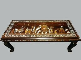 metal legs inlaid coffee table