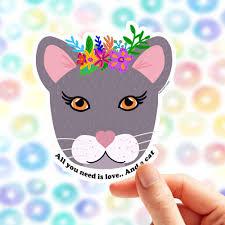 Cat Sticker Vinyl Sticker Laptop Cat Lover Car Decal Pet Sticker Cat Lover Gift Cat And Love Cat Decal Cat Lady Gift