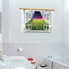 Sea Of Sunflowers 3d Effect Wall Sticker For Living Room Lace Curtain Home Decor