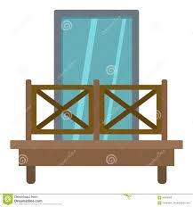 Balcony With Wooden Fence Icon Isolated Stock Vector Illustration Of Balustrade Icon 90976939