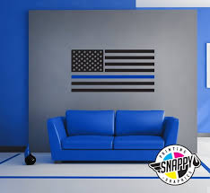 Thin Blue Line Police Flag Wall Decal Display Vertical Etsy