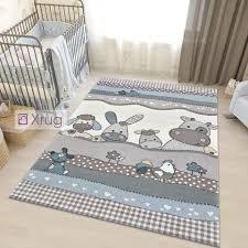 Childrens Animal Rug Beige Blue Contour Cut Pattern Carpet Thick Kids Xrugs