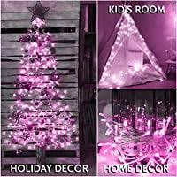 Amazon Com 100 Led String Lights With Safe Voltage Adaptor 8 Modes Pink Fairy Lights For Girls Room Kids Room Nursery Bar Christmas Decoration Home Improvement
