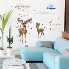 Home Decor Decor Decals Stickers Vinyl Art Vinyl Decal Sika Deer Flowers Birds Removable Home Decor Wall Stickers Art Mural Children S Bedroom Child Decor Decals Stickers Vinyl Art Home