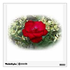 Red Single Rose Wall Decals Stickers Zazzle