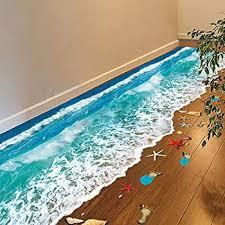 Amazon Com Mg554zy0 3d Beach Floor Ceiling Wall Sticker Removable Decal Diy Art Living Room Decor 3d Beach Floor Ceiling Wall Sticker Removable Kitchen Dining