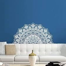 Amazon Com Half Mandala Wall Decal Headboard Master Yoga Studio Vinyl Sticker Decals Ornament Moroccan Pattern Namaste Lotus Flower Home Decor Boho Bohemian Wall Decal Bedroom Dorm Zx288 Handmade