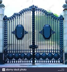 Beautiful Blue Decorative Classic Automatic Metal Gates Wrought Iron Gates Made Of Cast Metal Decor Of The Fence And House Entrance Stock Photo Alamy