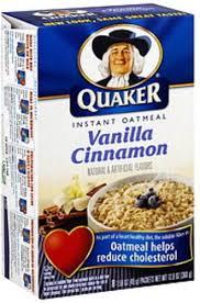quaker vanilla cinnamon instant oatmeal