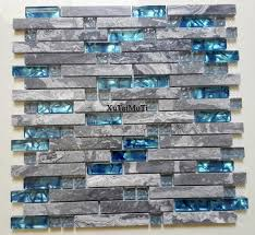 gray marble mosaic blue glass tile