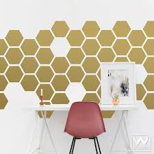 Big Hexagons Shapes Vinyl Wall Decal Large Peel Stick Wall Mural Wallternatives