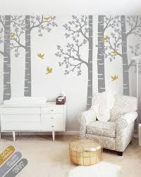 Large Grey Birch Tree Birds Wall Sticker Vinyl Decal Decor Walldecaldesigns