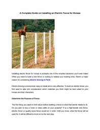A Complete Guide On Installing An Electric Fence For Horses By Rural Fencing Irrigation Supplies Issuu