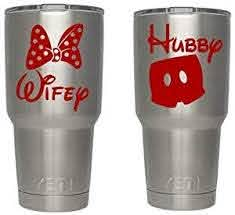 Amazon Com Disney Wifey Hubby Red Decals For Yeti Cups Car Sticker Car Decal Window Sticker For Tumbler Cup Car Truck Wall Notebook Suv Computer Laptop Motorcycle Helmet Red Automotive