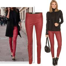 how to wear coloured leather pants