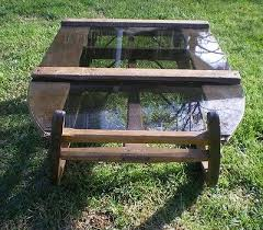 vintage wood sleigh sled coffee table
