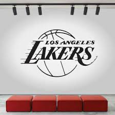 Lakers Los Angeles Logo Wall Decal Nba Sport Sticker Decor Black Vinyl Cg464 Ebay