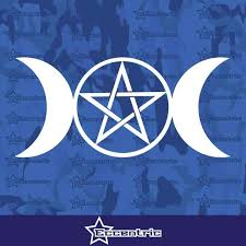 Triple Moon Goddess Wicca Pentacle Symbol Decal Car Truck Sticker Lapt Eccentric Mall