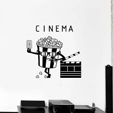 Cinema Ticket Vinyl Wall Decal Movie House Popcorn Filming Stickers Home Decoration Posters Creative Sign Decals Bedroom P259 Wall Stickers Aliexpress