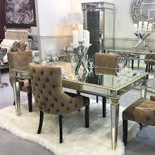athens gold mirrored dining table in
