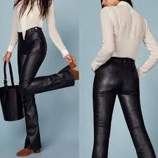 annie black leather bootcut pant