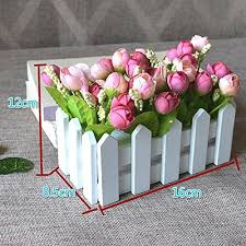 Flikool Creative Artificial Potted Plant Artificial Flower Rose Faux Green Grass Fake Bonsai Greenery Simulation Plant