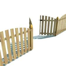 Fence Wooden With Gate 3d Model 9 3ds Obj Max Free3d