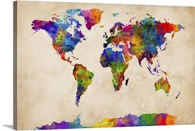 Watercolor Map Of The World Map Wall Art Canvas Prints Framed Prints Wall Peels Great Big Canvas
