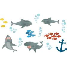 Wall Pops Multi Color Shark Attack Wall Decal Dwpk2710 The Home Depot