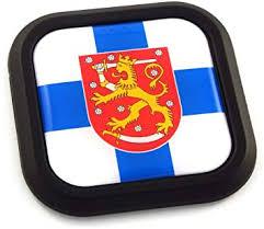 Amazon Com Finland Flag Square Black Rim Emblem Car 3d Decal Badge Hood Bumper Sticker 2 Automotive
