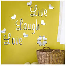 Amazon Com Wociaosmd Live Laugh Love Removable Wall Art Stickers Mirror Decal Diy Room Decals Home Decor Silver Baby
