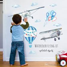 Watercolor Painting Cartoon Airplane Hot Air Balloon Wall Decals Kids Room Boys Room Nusery Cloud Wall Mural Poster Art Diy Home Decoration White Wall Decals White Wall Stickers From Magicforwall 7 03 Dhgate Com