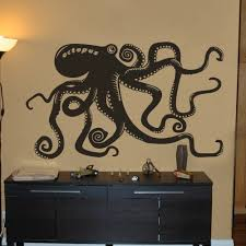 Amazon Com Vinyl Octopus Wall Decal Kraken Wall Decor Octopus Wall Sticker Sea Animal Wall Decal Graphic Home Art Decor Black Kitchen Dining