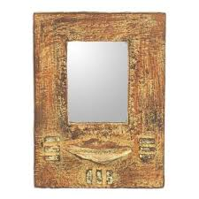 handcrafted sese wood wall mirror from